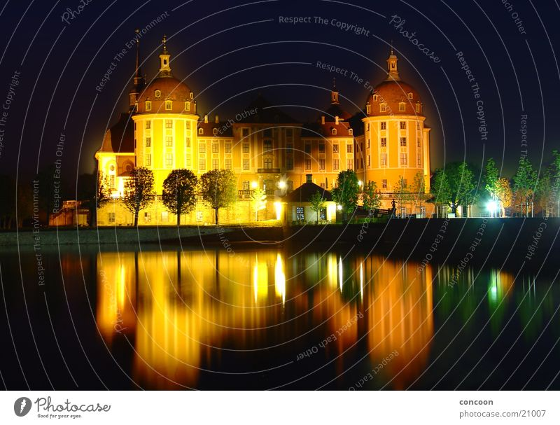 Moritzburg Castle Hunting lodge Night Avenue Lake Calm Majestic Dresden Saxony Europe Baroque pleasure palace princely Elector Moritz Moritzburg Ponds spieglung