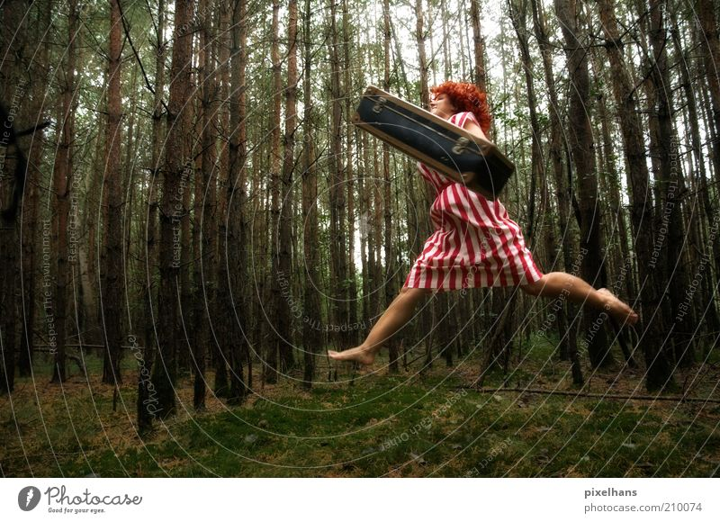 Woman Human being Nature Youth (Young adults) Green Tree Red Summer Adults Forest Feminine Grass Hair and hairstyles Movement Jump Art
