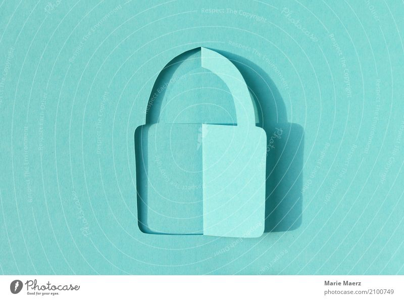 Padlock Paper cut Design Telecommunications Information Technology Internet Lock To hold on Communicate Uniqueness Modern Turquoise Trust Safety Protection