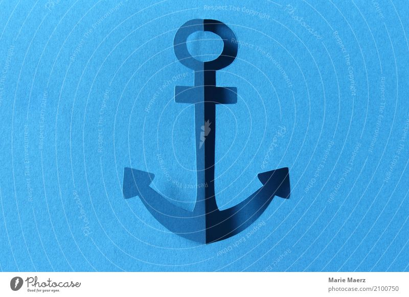Anchor paper cut Design Vacation & Travel Ocean Sailing To hold on Cool (slang) Fresh Hip & trendy Maritime Athletic Blue Trust Safety Longing Homesickness