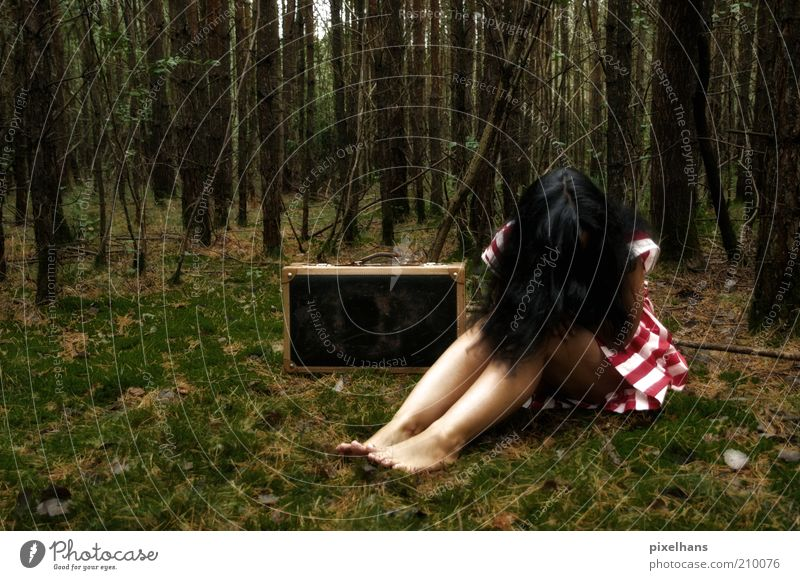 I can't go on!!! Feminine Young woman Youth (Young adults) Woman Adults 1 Human being 18 - 30 years Nature Summer Tree Grass Moss Forest Deserted Skirt Suitcase