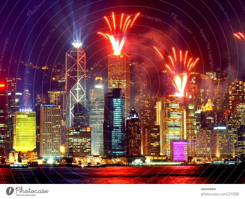 City Colour Glittering High-rise Energy industry Multicoloured China Firecracker Skyline Night Asia California Laser Hongkong Massive Los Angeles
