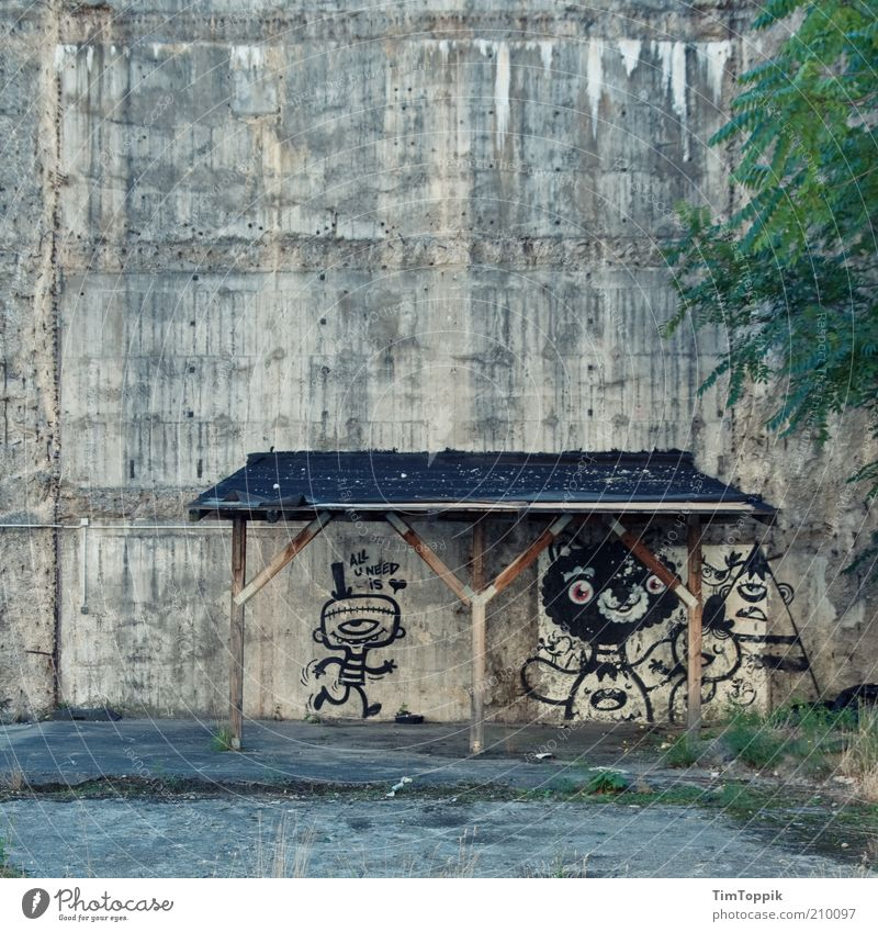 Old House (Residential Structure) Wall (building) Gray Wall (barrier) Graffiti Dirty Funny Gloomy Roof Derelict Decline Art Frankfurt Ruin Shabby