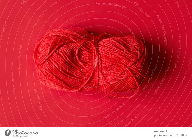 ball of wool Ball of wool Wool Knot Colour Subsoil String Craft (trade) Handcrafts Crochet Knit Embroider handcrafted Multicoloured Red cherry red