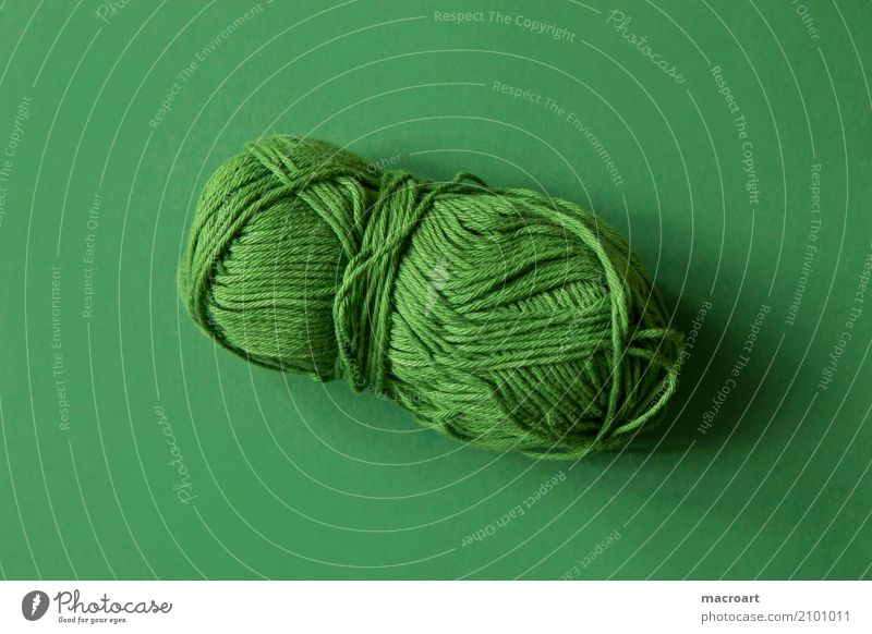 ball of wool Ball of wool Wool Knot Colour Subsoil String Hank of wool Craft (trade) Handcrafts Crochet Knit Embroider Multicoloured Green Grass green