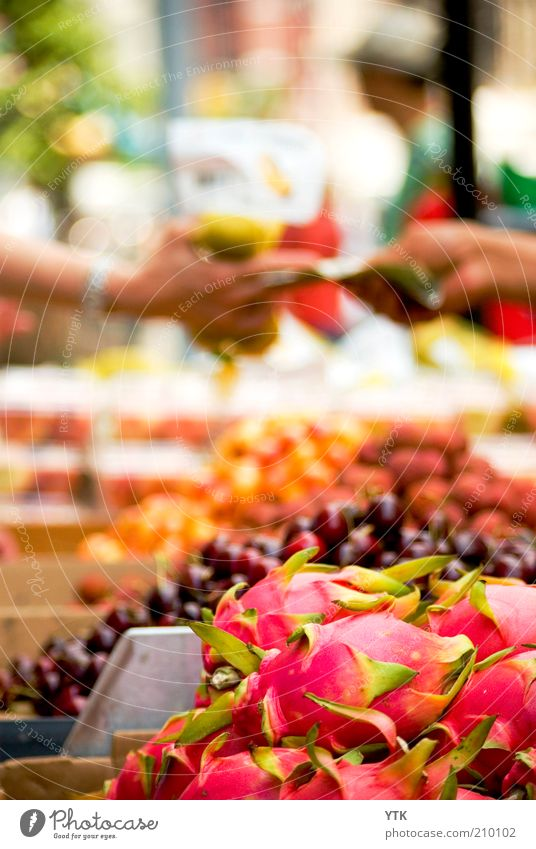 Chinese Fruit Market Exotic Paying Pink Esthetic Dragonfruit Fruity Delicious Stalls and stands Goods Sweet Trade Haggle Street vendor Bank note Blur Juicy