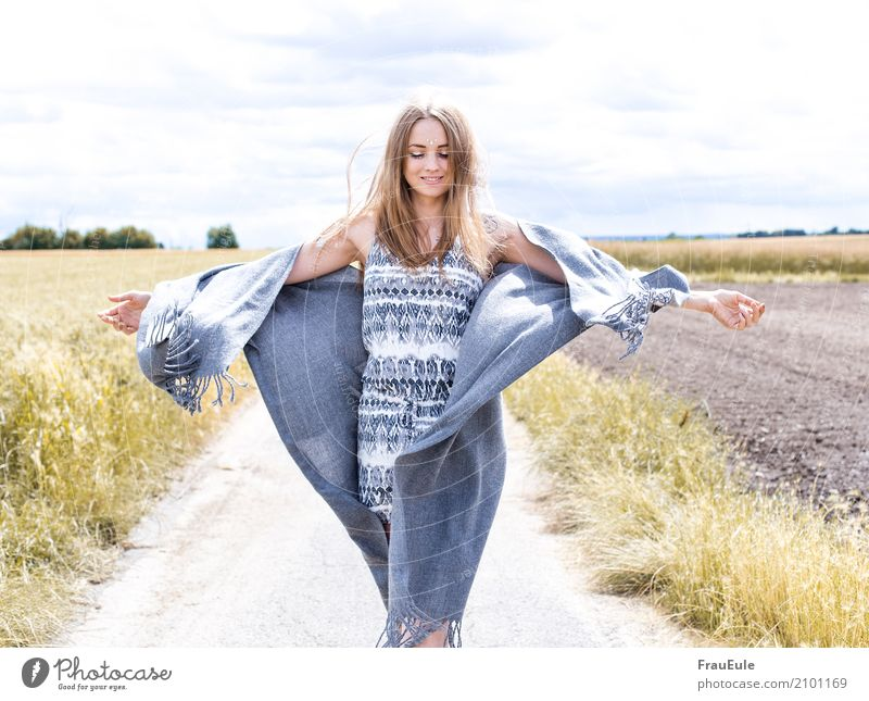 Human being Woman Nature Youth (Young adults) Young woman Summer Beautiful Sun 18 - 30 years Adults Movement Feminine Happy Flying Bright Contentment