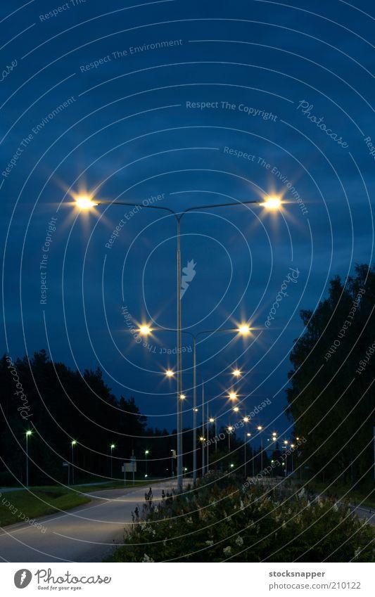 The lights in the night Street Lamp Dark Night sky Dusk Lamp post Lantern