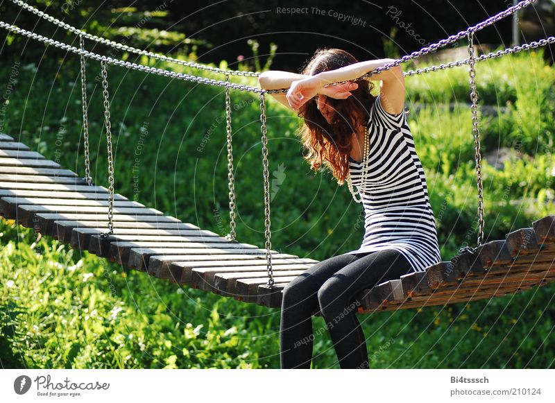 Human being Nature Youth (Young adults) Beautiful Feminine Grass Wood Dream Sadness Think Metal Fashion Adults Sit Bridge