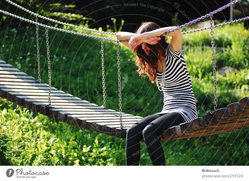 Human being Nature Youth (Young adults) Beautiful Feminine Grass Wood Dream Sadness Think Metal Fashion Adults Sit Bridge