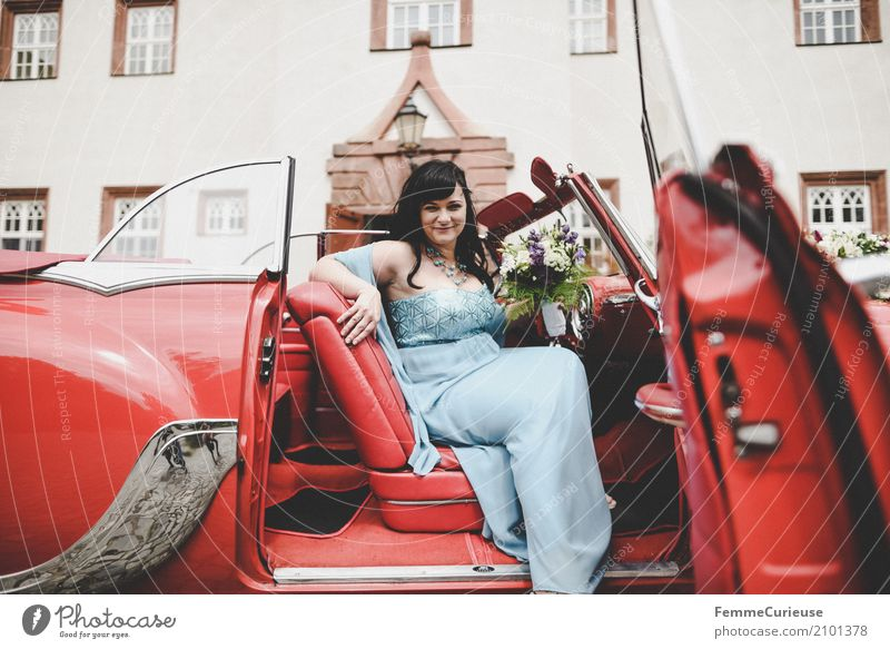 Human being Woman Youth (Young adults) Blue Red 18 - 30 years Adults Feminine Happy Wedding Bouquet Castle Black-haired Vintage car Bride Matrimony