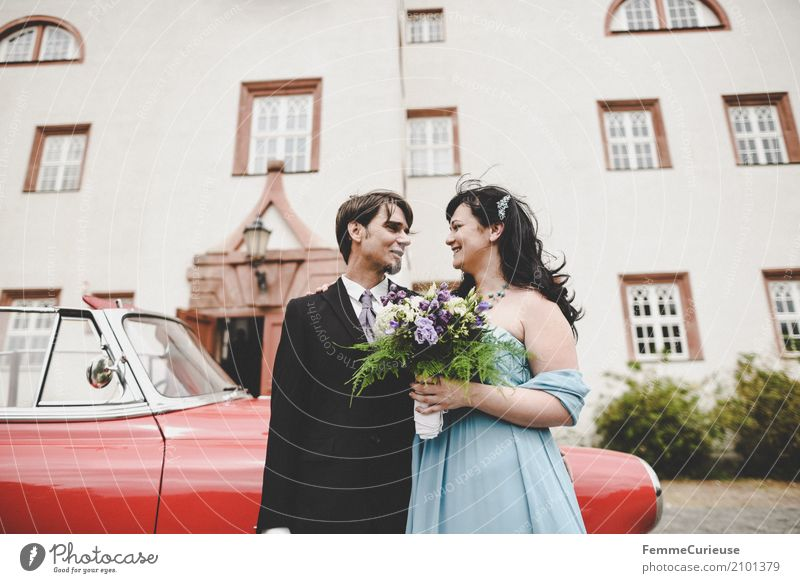 Human being Woman Youth (Young adults) Man Red 18 - 30 years Adults Love Feminine Happy Masculine Wedding Castle Lovers Infatuation Vintage car