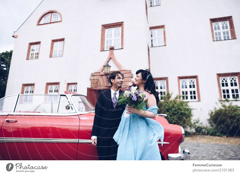 Human being Woman Youth (Young adults) Man Blue Red 18 - 30 years Adults Feminine Happy Masculine Wedding Bouquet Castle Suit Black-haired