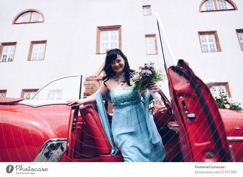 Human being Woman Youth (Young adults) Blue Red 18 - 30 years Adults Feminine Happy Smiling Wedding Bouquet Castle Black-haired Anticipation Motoring