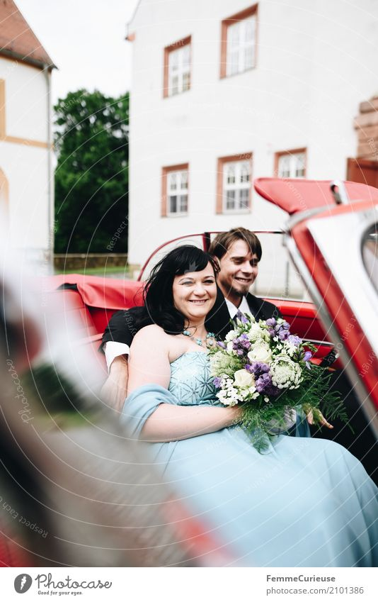 Human being Woman Youth (Young adults) Man Blue Red 18 - 30 years Adults Feminine Happy Masculine Car Wedding Bouquet Castle Black-haired