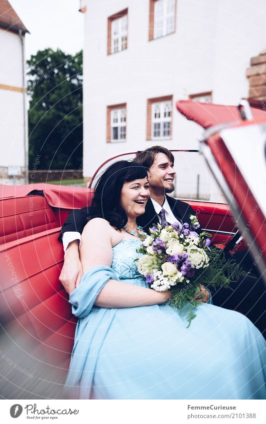 Human being Woman Youth (Young adults) Man Blue Red 18 - 30 years Adults Love Laughter Happy Wedding Bouquet Castle Lovers Black-haired