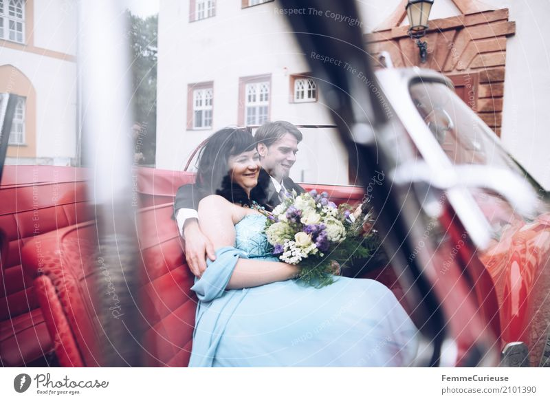 Human being Woman Youth (Young adults) Man Blue Red 18 - 30 years Adults Love Car Window Feminine Happy Masculine Romance Wedding Attachment
