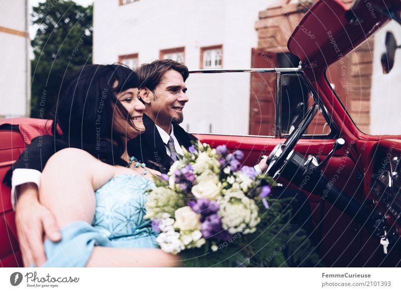 Human being Woman Youth (Young adults) Man Red 18 - 30 years Adults Love Feminine Happy Masculine Romance Wedding Castle Lovers Motoring