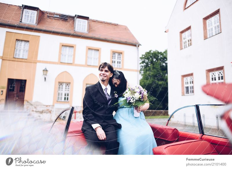 Human being Woman Man Blue Red Adults Love Feminine Family & Relations Happy Couple Masculine Sit Wedding Bouquet Castle