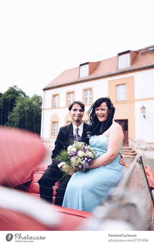 Human being Woman Youth (Young adults) Man Blue Red 18 - 30 years Adults Feminine Laughter Happy Masculine Sit Smiling Wedding Bouquet