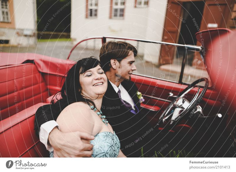 Human being Woman Youth (Young adults) Man Blue Red 18 - 30 years Adults Happy Wedding Suit Black-haired Intimacy Bride Vintage car Married couple