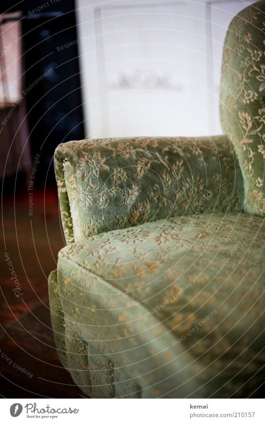 Old Green Style Elegant Decoration Sofa Interior design Furniture Cozy Seating Ancient Armchair Comfortable Section of image Old fashioned Bolster