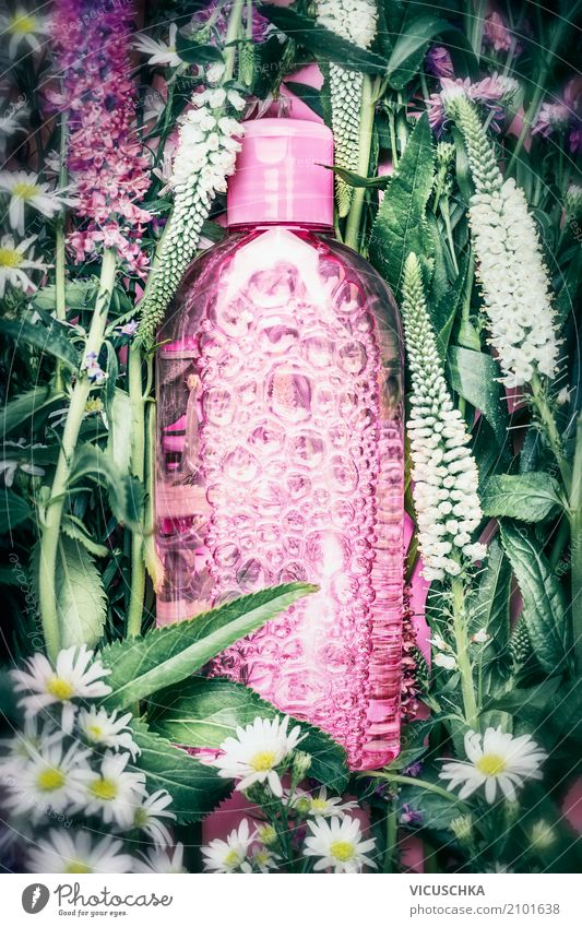 natural cosmetics Lifestyle Style Design Beautiful Personal hygiene Cosmetics Perfume Healthy Nature Plant Flower Leaf Blossom Cream Green Pink Bottle