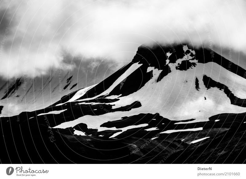 Nature White Landscape Clouds Mountain Black Environment Gray Rock Weather Air Climate Peak Snowcapped peak Iceland Glacier
