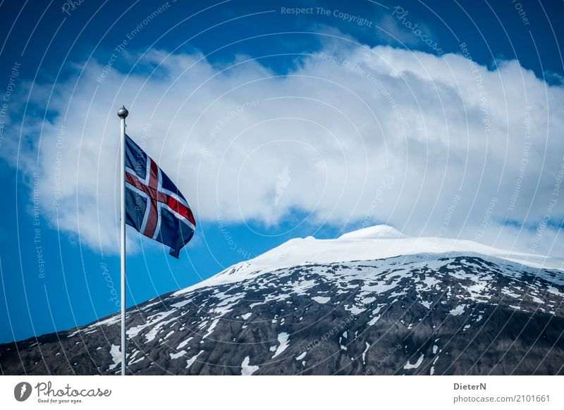 fly the flag Nature Landscape Clouds Summer Weather Beautiful weather Wind Rock Mountain Snowcapped peak Volcano Blue Gray Red White Iceland Flag Flagpole