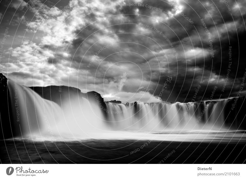 in flux Environment Landscape Sky Clouds Storm clouds Climate Weather Bad weather Thunder and lightning River Waterfall Godafoss Gray Black White Iceland