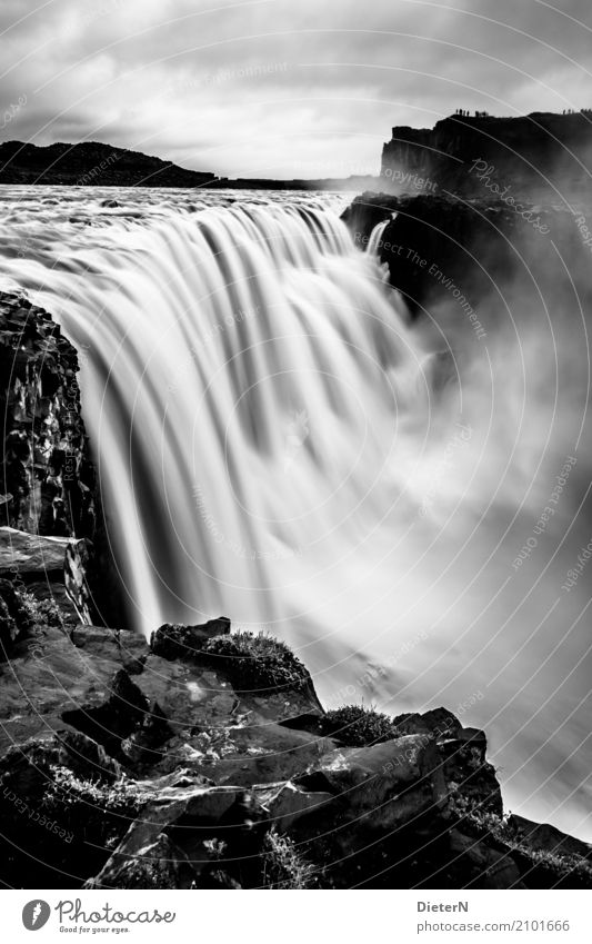 dettifoss Nature Landscape Elements Water Sky Clouds Weather Bad weather Rock Waves River bank Waterfall Gray Black White Iceland Rough Flow Force of nature