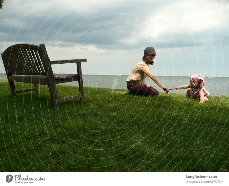 mother and baby Human being Youth (Young adults) Green Love Playing Grass Garden Child Family & Relations Lake Park Baby Adults Happiness Growth Mother