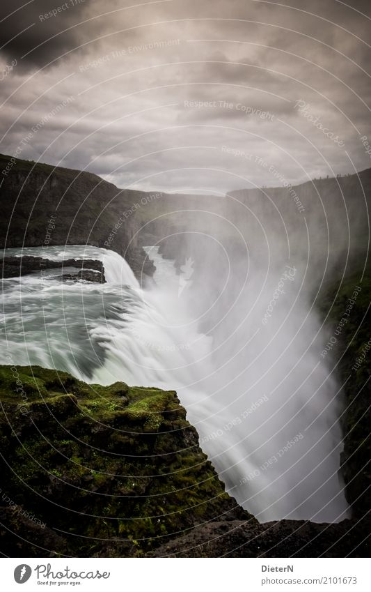 With power Nature Landscape Air Water Drops of water Sky Clouds Weather Bad weather Rock River bank Waterfall Brown Green White Iceland Gullfoss Colour photo