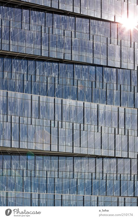 star and stripes Business Sun High-rise Facade Window Line Stripe Glittering Illuminate Sharp-edged Blue Energy Art Modern Colour photo Exterior shot Abstract