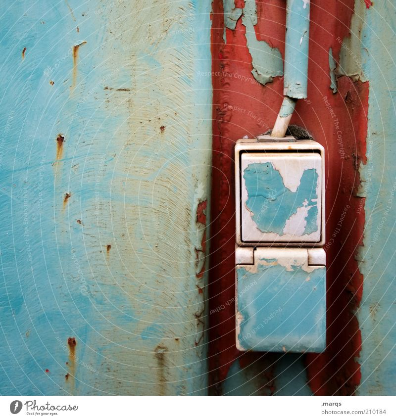 Old Blue Red Colour Metal Transience Derelict Decline Rust Switch Socket Section of image Flake off Paints and varnish Installations To make dirty