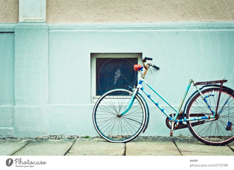 Old House (Residential Structure) Window Wall (building) Wall (barrier) Bicycle Authentic Broken Retro Derelict Turquoise Decline Rust Bicycle frame Abrasion