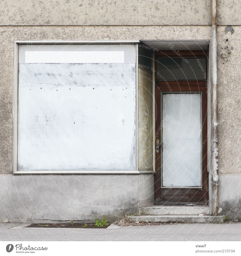 finalized House (Residential Structure) Facade Window Door Old Dirty Authentic Cliche Trashy End Decline Past Transience Shop window Store premises