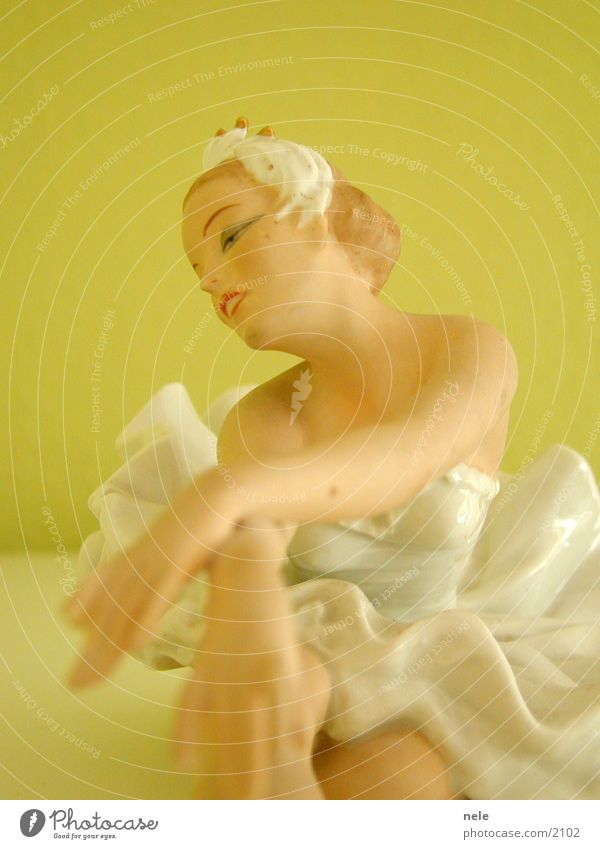 Woman Face Dance Posture Kitsch Decoration Delicate Crockery Doll Ballet Dancer Fragile Pastel tone