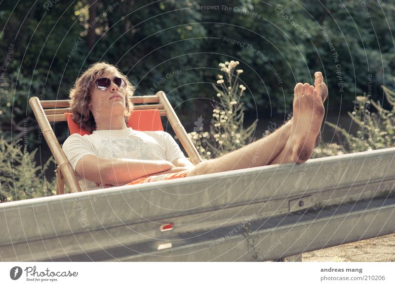 This is where I live | No. 003 Joy Young man Youth (Young adults) Feet Summer Beautiful weather Crash barrier Sunglasses Deckchair Relaxation To enjoy Sleep