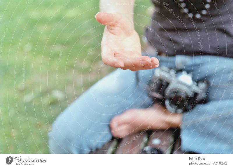 Human being Hand Feet Friendship Together Leisure and hobbies Sit Fingers Help Safety Curiosity Jeans Camera Beautiful weather Trust Analog