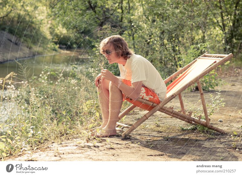 This is where I live | No. 004 Young man Youth (Young adults) Environment Summer Brook Swimming trunks Sunglasses Deckchair Fragrance Relaxation To enjoy Sit