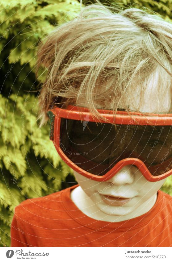 transparency Skiing goggles Masculine Child Boy (child) Head Nose Mouth 8 - 13 years Infancy Eyeglasses Blonde Smiling Happiness Funny Crazy Red Joy Safety