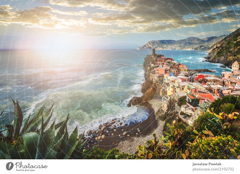 Vernazza in the Cinque Terre National Park, Italy Beautiful Vacation & Travel Tourism Summer Beach Ocean House (Residential Structure) Nature Landscape Sky