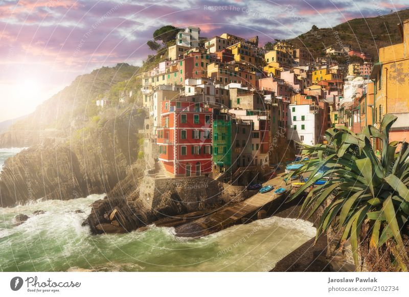 Riomaggiore Cinque Terre, Italy Beautiful Vacation & Travel Tourism Summer Sun Beach Ocean House (Residential Structure) Nature Landscape Sky Clouds Park Rock