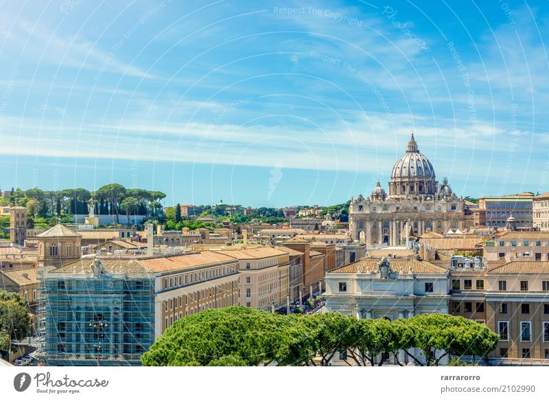 Vatican and Basilica of Saint Peter seen from Castel Sant'Angelo Sky Vacation & Travel Old Town Beautiful White Religion and faith Architecture Building Tourism