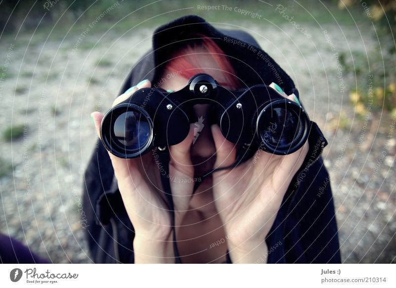 world view Nail polish Human being Feminine Woman Adults 1 Nature Beautiful weather Jacket Red-haired Binoculars Discover Looking Exceptional Curiosity Colour