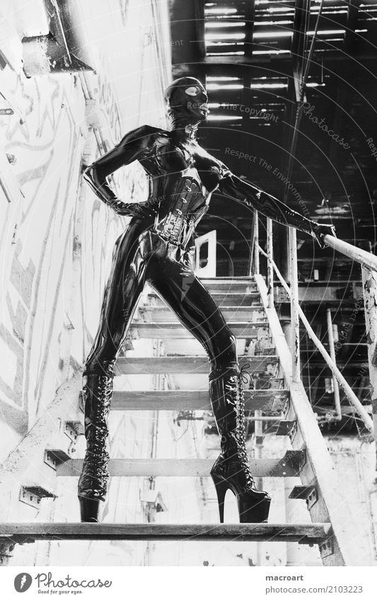 latex suit Latex Fetishism Catsuit Respirator mask Mask Gloves Glittering Extraterrestrial being Human being portrait Black latex mask lost places High heels