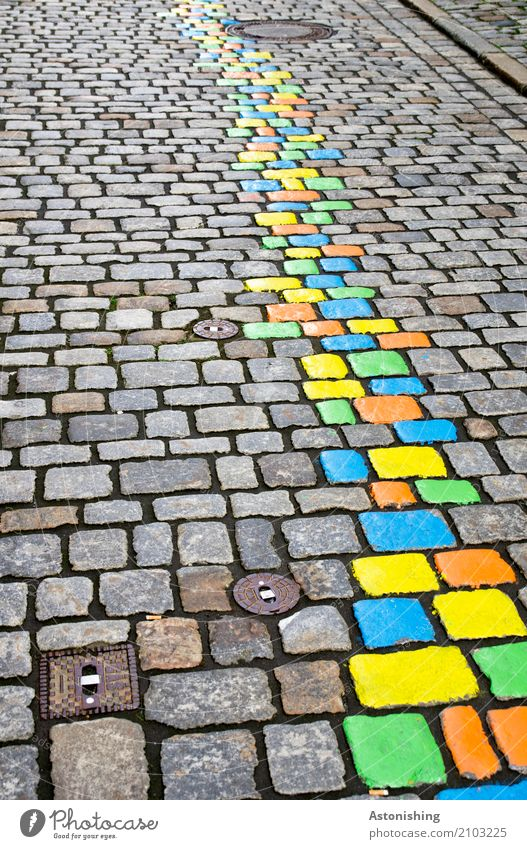 coloured stones on the street Art Painter Nature Passau Town Old town Places Transport Street Stone Beautiful Blue Multicoloured Yellow Green Orange Colour