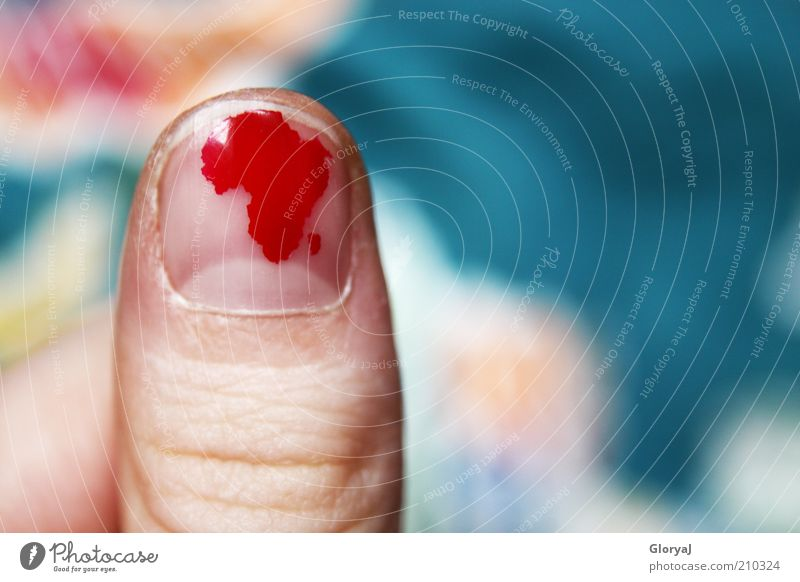 Suddenly there was Africa... Style Manicure Old Small Red Humanity Coincidence Thumb Nail polish Colour photo Detail Copy Space right Thumbnail