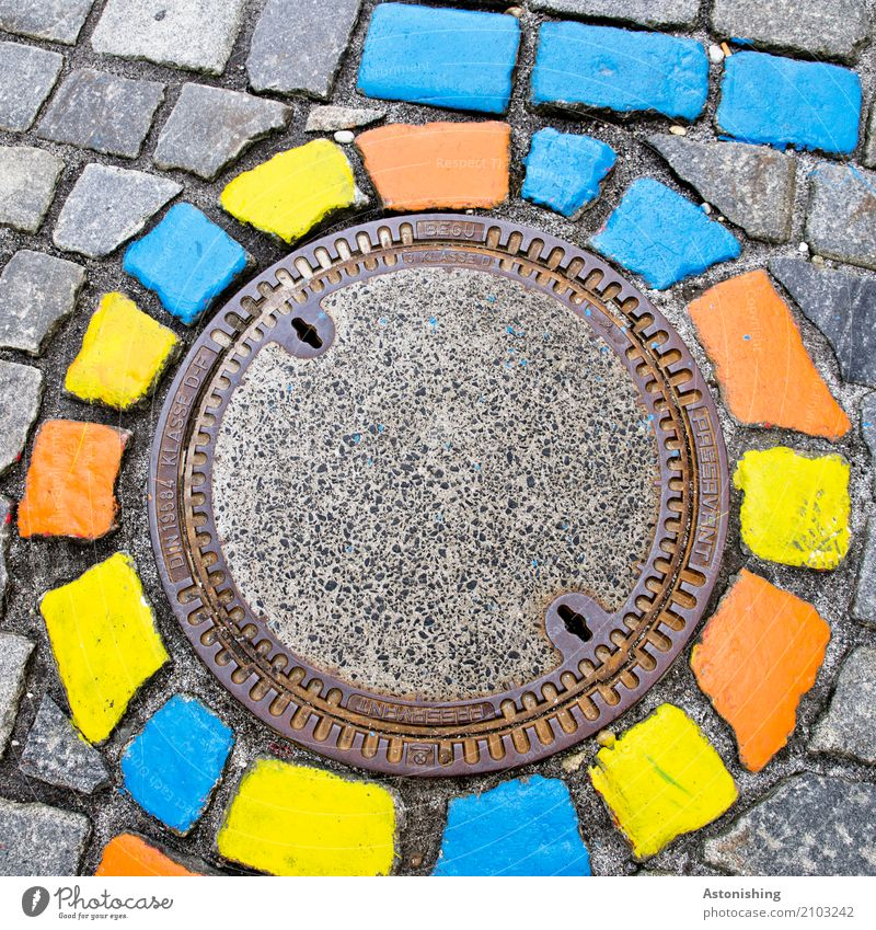 coloured stones in a circle Art Painter Passau Town Places Street Stone Blue Multicoloured Yellow Gray Gully Round Circle Paving stone Decoration Metal Detail